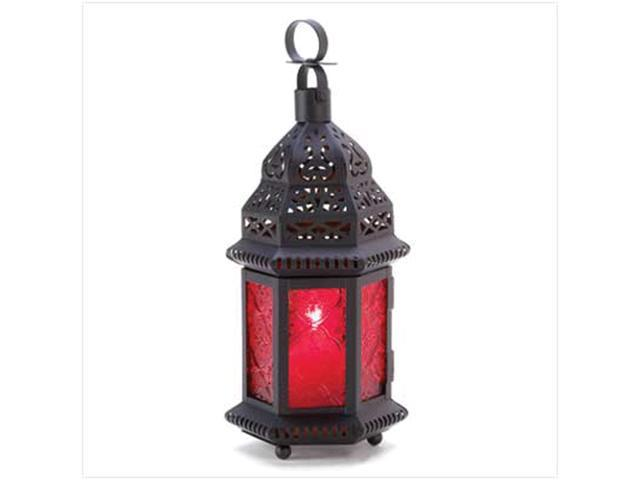 Home Indoor Outdoor Yard Garden Decorative Hanging Tabletop Red Glass Metal Moroccan Winter Fire Candle Holder Lantern Wedding Centrepiece