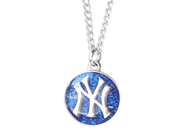 New York Yankees Glitter Necklace Mlb Team Logo Charm Pendant Gift