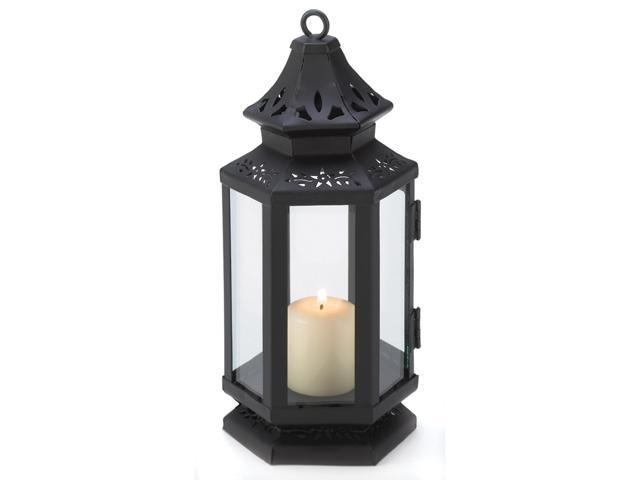 Home Indoor Outdoor Decorative Elegant Black iron Stagecoach Style Hanging Table Top Candle Holder Lantern Wedding Center Piece-Small