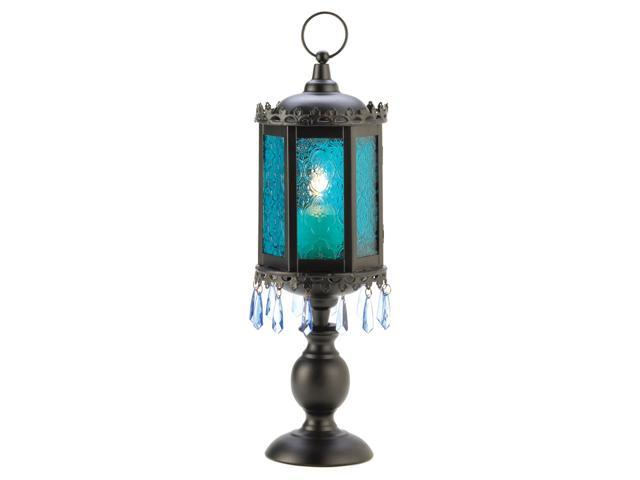 Home Indoor Outdoor Decorative Exotic Azure Blue Pedestal Pillar Table Top Candle Holder Cage Lamp Lantern Wedding Center Piece
