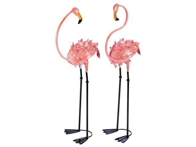 Koehler Home Indoor Outdoor Garden Decorative Metal Flamboyant Pink Flamingo Lawn Yard Ornament Figurine Stakes.