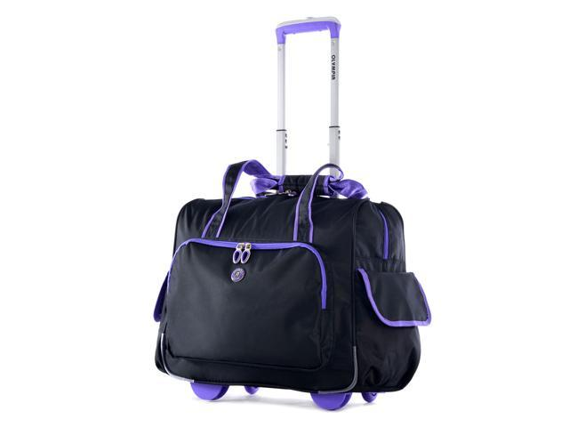 Outdoor Travel Laptop Briefcase Deluxe Fashion Rolling Overnighter Purple