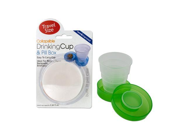 Bulk Buys Home Indoor Outdoor Travel Plastic Collapsible Drinking Cup And Pill Box 12 Pack