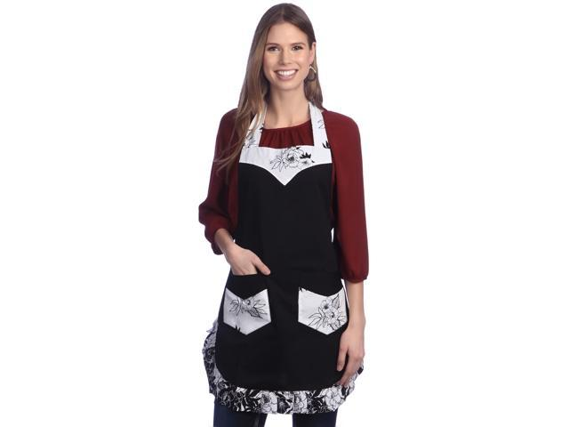 Angel Black Flower Apron With 2 Pockets, Adjustable Neck Strap And Waist Ties, 100% Organic Cotton