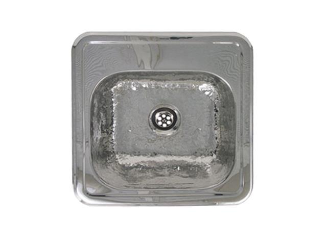 Square Prep Sink With A Hammered Texture Bowl And Mirrored Ledge-Hammered Stainless Steel-WH692ABB