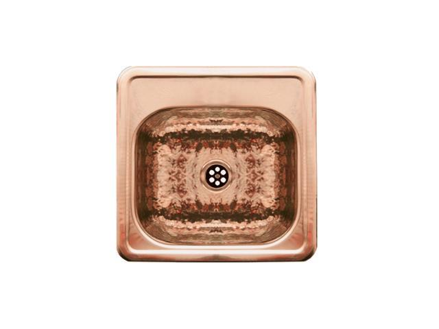 Square Prep Sink With A Hammered Texture Bowl And Mirrored Ledge-Hammered Copper-WH692CBB