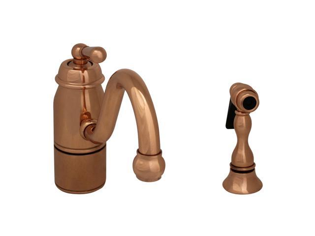 Beluga Single Handle Faucet With Curved Swivel Spout, Curved And Solid Brass Spray-Polished Copper