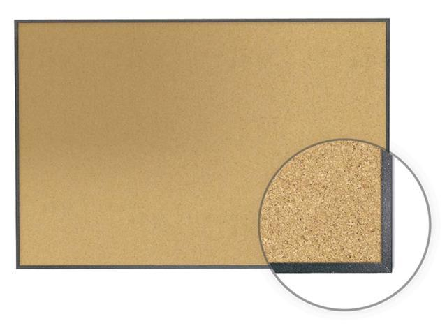 Ghent 4' x 8' Image Trim Natural Cork Tackboard With Graphite Fleck Frame