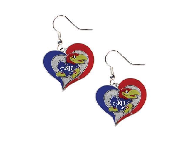 Kansas Jayhawks Swirl Heart Dangle Logo Earring Set Charm Gift NCAA