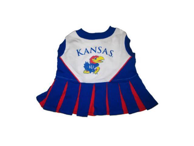 Pets First Sports Team Logo Kansas Jayhawks Cheerleader Dog Dress Xtra Small