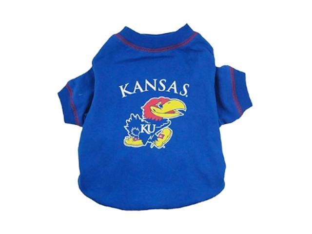Pets First Sports Team Logo Kansas Jayhawks Dog Tee Shirt Large
