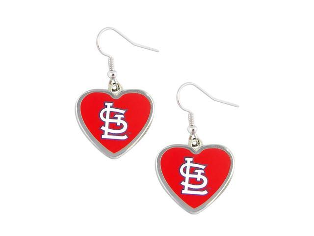 St.Louis Cardinals MLB Sports Team Logo Heart Shaped French Hook Style Charm Dangle Earring Set