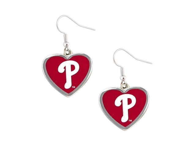 Philadelphia Phillies MLB Sports Team Logo Heart Shaped French Hook Style Charm Dangle Earring Set
