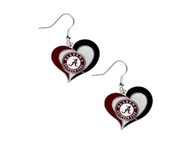 Alabama Crimson Tide Swirl Heart Dangle Logo Earring Set Charm Gift NCAA