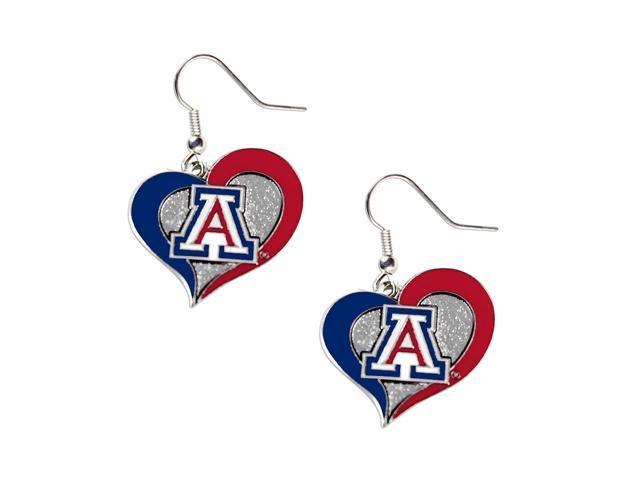 Arizona Wildcats Swirl Heart Dangle Logo Earring Set Charm Gift NCAA