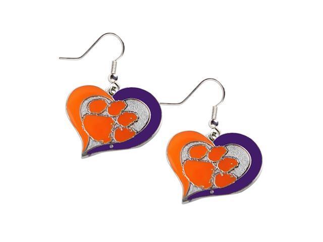 Clemson Tigers Swirl Heart Dangle Logo Earring Set Charm Gift NCAA