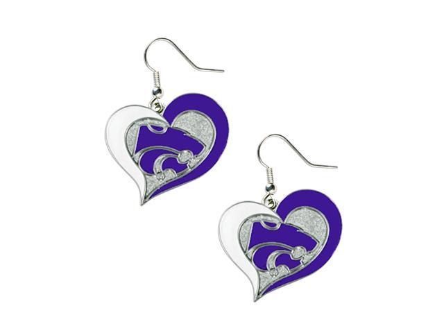 Kansas State Wildcats Swirl Heart Dangle Logo Earring Set Charm Gift NCAA