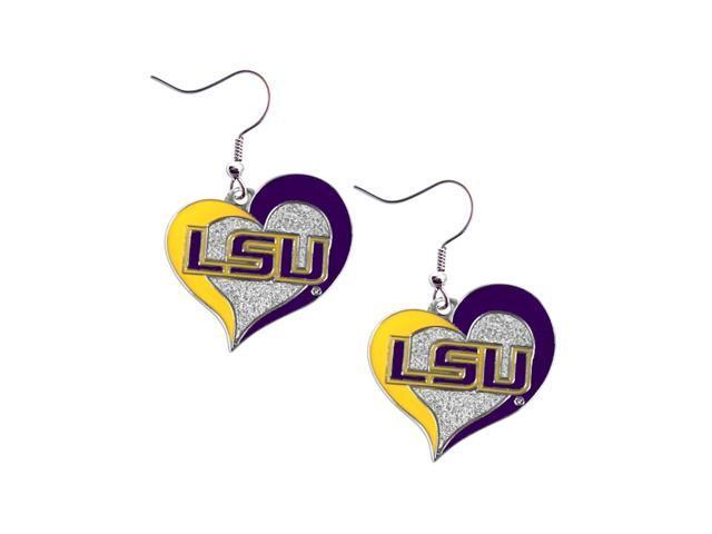 LSU Tigers Louisiana Swirl Heart Dangle Logo Earring Set Charm Gift NCAA