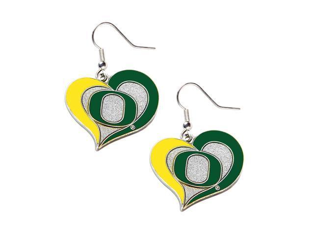 Oregon Ducks Swirl Heart Dangle Logo Earring Set Charm Gift NCAA