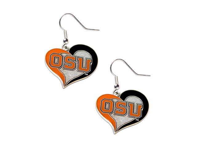 Oregon State Beavers Swirl Heart Dangle Logo Earring Set Charm Gift NCAA