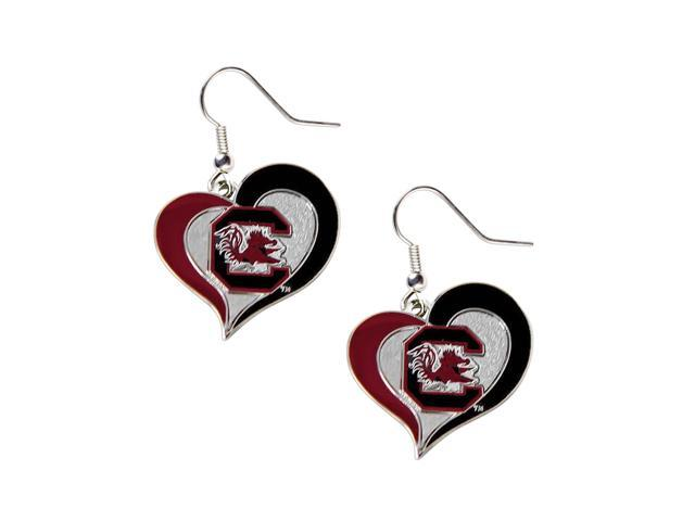 South Carolina Gamecocks Swirl Heart Dangle Logo Earring Set Charm Gift NCAA