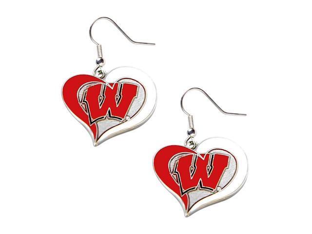 Wisconsin Badgers Swirl Heart Dangle Logo Earring Set Charm Gift NCAA
