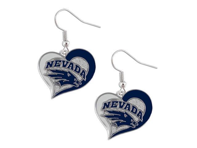 Nevada Wolf Pack Swirl Heart Dangle Logo Earring Set Charm Gift NCAA
