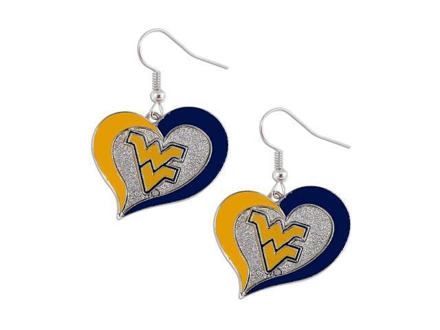 West Virginia Mountaineers Swirl Heart Dangle Logo Earring Set Charm Gift NCAA