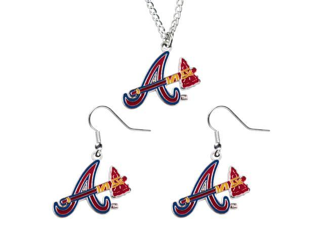 NCAA Atlanta Braves Necklace And Dangle Earring Set Charm