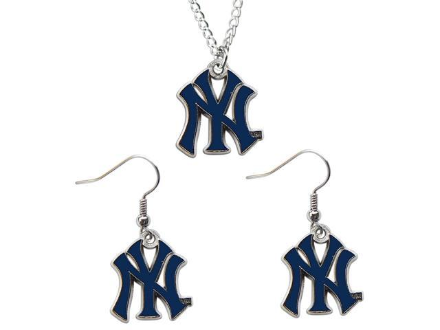 New York Yankees Necklace & Dangle Earrings Set Charm NY