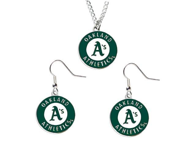 NCAA Oakland Athletics A's Necklace And Dangle Earring Set Charm
