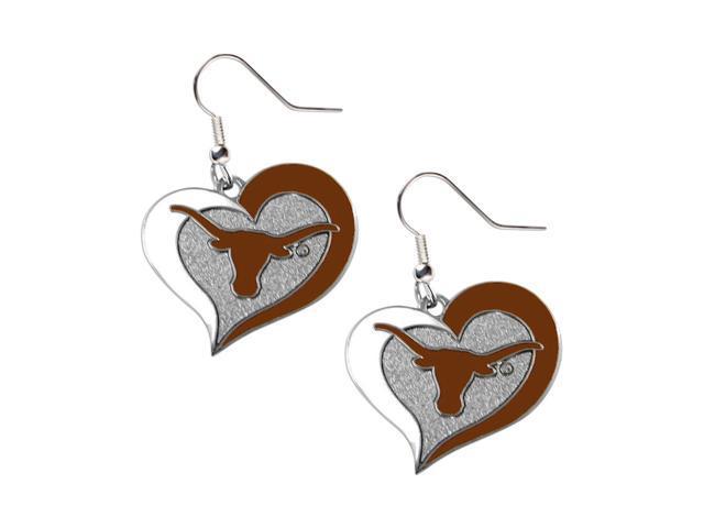 Texas Longhorns Swirl Heart Dangle Logo Earring Set Charm Gift NCAA