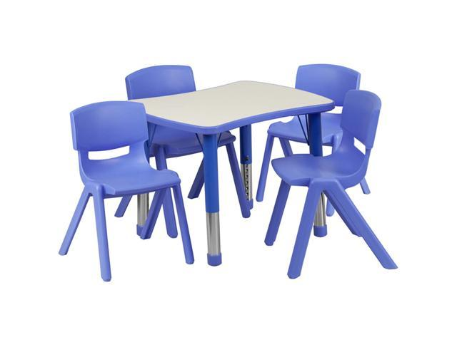 Flash Furniture 21.875''W x 26.625''L Adjustable Rectangular Blue Plastic Activity Table Set with 4 School Stack Chairs [YU-YCY-098-0034-RECT-TBL-BLUE-GG]