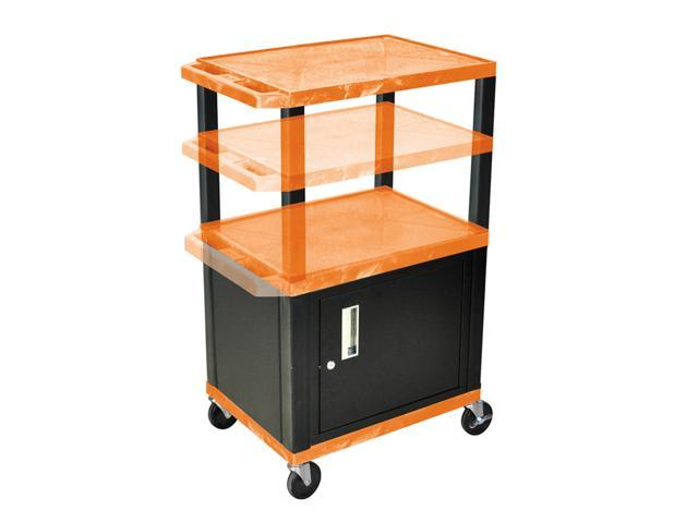 H Wilson WT2642C2E-B Adjustable Height 3 Shelves Orange Tuffy Cart with Cabinet Black Legs