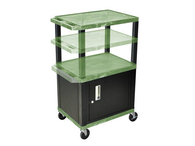 H Wilson WT2642C2E-B Adjustable Height 3 Shelves Green Tuffy Cart with Cabinet Black Legs
