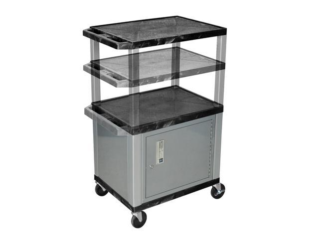 H Wilson WT2642C4E-N Adjustable Height 3 Shelves Black Tuffy Cart with Cabinet Nickel Legs