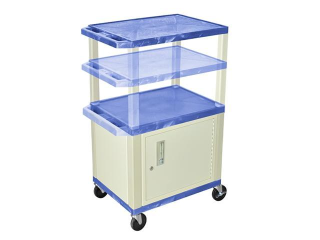 H Wilson WT2642C3E Adjustable Height 3 Shelves Blue Tuffy Cart with Cabinet Putty Legs