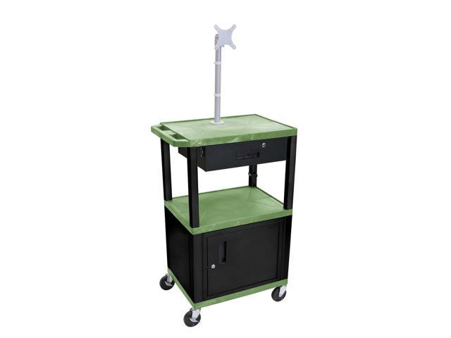 H. Wilson Multipurpose Utility Cart With Cabinet Monitor Mount and Drawer Green and Black