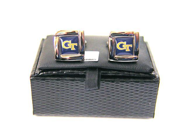 NCAA Georgia Tech Yellow Jackets Square Cufflinks With Square Shape Engraved Logo Design Gift Box Set