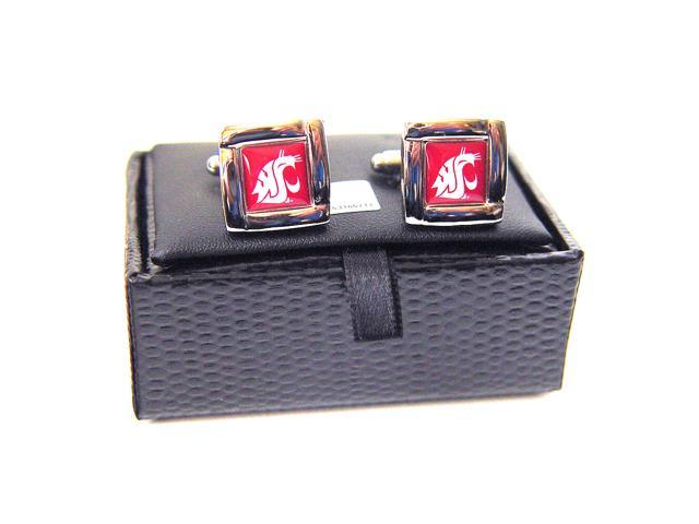 NCAA Washington State Cougars Square Cufflinks With Square Shape Engraved Logo Design Gift Box Set