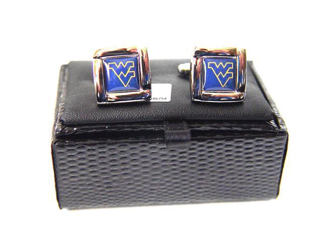 NCAA West Virginia Mountaineers  Square Cufflinks With Square Shape Engraved Logo Design Gift Box Set