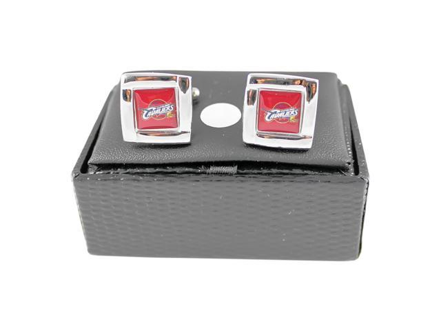 NBA Cleveland Cavs Cavaliers Square Cufflinks With Square Shape engraved Logo design Gift Box Set