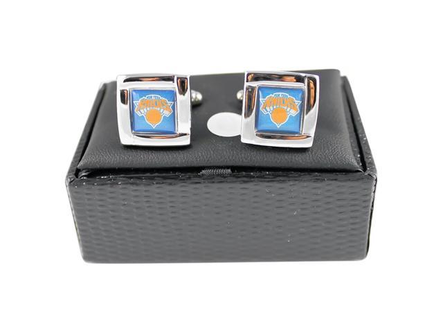 NBA NY New York Knicks Square Cufflinks with Square Shape Logo Design Gift Box Set