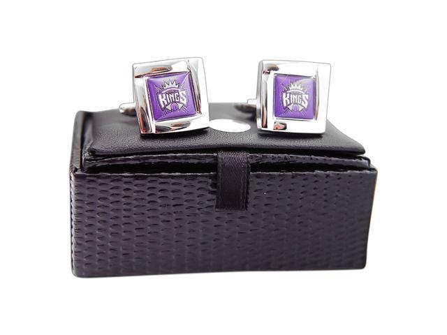 NBA Sacramento Kings Square Cufflinks With Square Shape engraved Logo design Gift Box Set