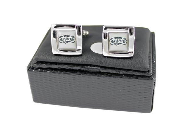 NBA San Antonio Spurs Square Cufflinks With Square Shape engraved Logo design Gift Box Set