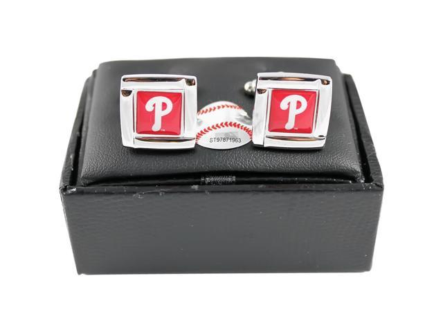MLB Philadelphia Phillies Square Cufflinks With Square Shape engraved Logo design Gift Box Set