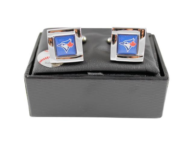 MLB Toronto Blue Jays Square Cufflinks With Square Shape engraved Logo design Gift Box Set