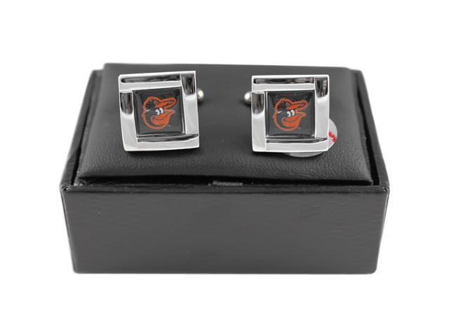 MLB Baltimore Orioles Square Cufflinks With Square Shape engraved Logo design Gift Box Set