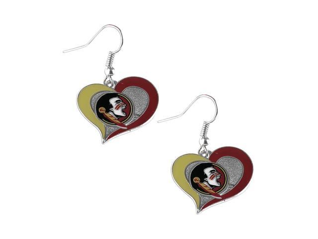 Florida State SemiNoles Swirl Heart Dangle Logo Earring Set Charm Gift NCAA