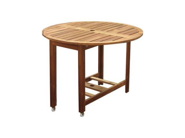 Merry Products MPG-TBS01-TB Acacia Hardwood Foldable Outdoor Round Dining Table on Wheels